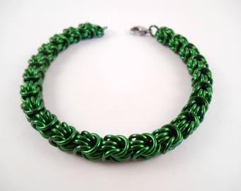 Green Rosetta Bracelet - Green Anodized Aluminum Rosetta Chain Maille Bracelet