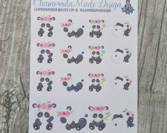Panda Planner Stickers | Panda with Floral Headband Sticker | Mini Sticker Sheets | Personal | Planner Stickers | Color Crush | Filofax | TN