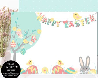 Printable Easter Invitation / You Edit Using Photo Software or Handwrite / Happy Easter Pastel Mint Green Eggs Template INSTANT DOWNLOAD