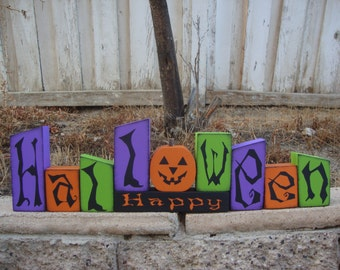 Happy Halloween Blocks- Halloween Decor, Halloween Wood Blocks, Halloween Wood Decor,October and Home Decor