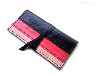 Womens Clutch Wallet in leather. Black, bright Coral red and Peach Long Wallet. Wrap wallet for her. Womens Valentine Gift.