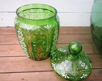 Antique Biscuit Barrel, Victorian Glass Biscuit Barrel, Enamelled Green Glass, Antique Biscuit Jar, Vintage Cookie Jar, Vintage Biscuit Jar