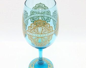 Moroccan Henna Mehndi Mandala Inspired Hand Painted Wine Glass Blue Turquoise Gold Filligree