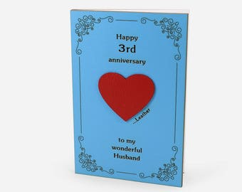 3rd Anniversary Card, Third Anniversary, 3rd Anniversary Gift, 3 Wedding Anniversary, 3 Year Anniversary, Leather Anniversary, Card husbend