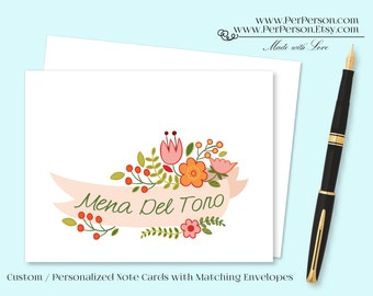 Free Ship!  Set of 12 Personalized / Custom Notecards, Boxed, Blank Inside, Floral Ribbon Banner, Peach, Orange, Initials, Monogram, Name
