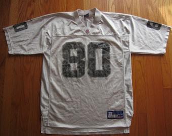 Vintage 90s Reebok Jerry Rice Oakland Raiders Jersey #80 Silver Black Large