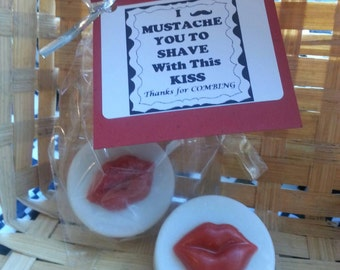 Kissing Lip Shaving Soap Favors, Mustache Shaving Soap Favors, Wedding Favors, Bridal Shower Favors, Birthday Favors, cmooreinspiration