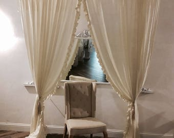 Curtains with Ruffles shabby chic ivory