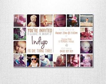 Instagram Invitation ~ Birthday Invitation ~ Keepsake Invitation ~ Photo Collage Invitation ~ First Birthday ~ Photo Invite