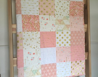 Baby girl quilt, crib quilt, brambleberry ridge, glitz, pink-blush-white-gold