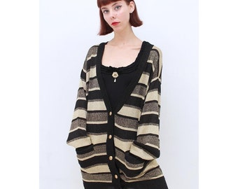 Vintage - 80's - Retro - GLAM - METALLIC - Gold - Black - Stripe - Oversized - Long - Cardigan - Sweater - AUS 12 14 - M L - Medium Large