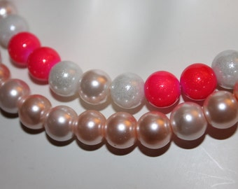 Pink Jewelry, Pink Necklace, Pink Pearl Necklace, Pink Pearl Jewelry, Pink Beaded Jewelry, Pink Beaded Necklace, Necklace with Pink Pearls