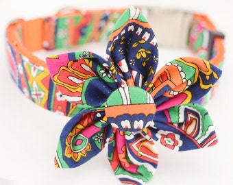 Personalized  Dog Collar and Flower Set,Fabric 67