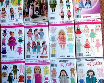 "NEW Lot of 12 Simplicity 18"" American Girl DOLL Clothes Sewing Patterns Batch #3"
