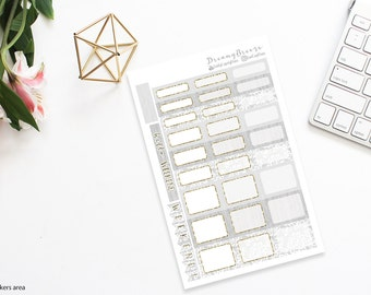 Lace/Burlap with Gold | Half boxes & Labels | Printable Planner Stickers | Happy Planner