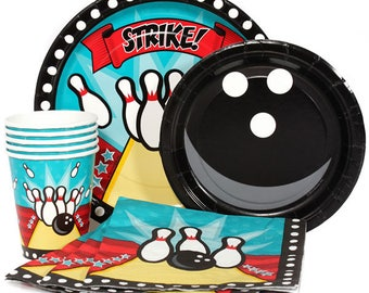 40 Pc Bowling Theme Party Pack - Dinner Plates, Dessert Plates, Cups & Napkins - Bowling Party Sturdy Disposable Dinnerware Set!