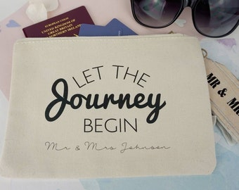 Travel Wallet - Let the journey begin - mr and mrs travel wallet - newlyweds gift - travel wallet - personalised wedding gift -
