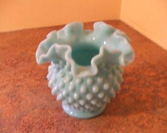 Vintage 1950s Fenton Turquoise Milk Glass Hobnail Ruffled Vase / Rose Bowl