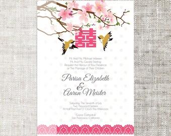 Diy printable editable korean wedding invitation card diy printableeditable chinese wedding invitation card template instant downloadcoral pink plum blossom lovely birds stopboris Gallery