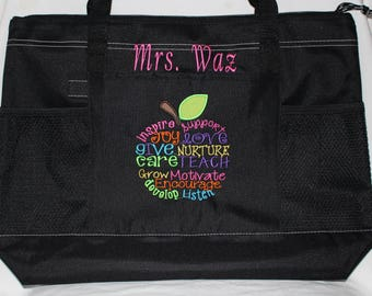 Best Teacher Gift! Back to school Monogrammed Welcoming Teacher Gift / Embroidered Personalized Teacher Tote Bag; Teacher Appreciation Week