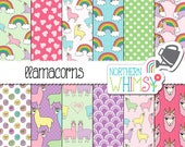 Llamacorn Digital Paper - llama unicorn seamless patterns in pastel pink, purple, blue, green & yellow - scrapbook paper - commercial use OK