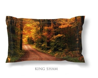 Seasonal Bedding-Autumn Pillow Sham-Pillow Cover-Rustic Pillow Sham-Road Pillow Sham-Microfiber Pillow Sham-Standard Sham-King Sham-Yellow