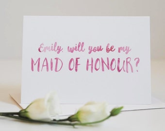 Maid of Honour Card - Be My Maid of Honour Card - Wedding Card - Maid of Honour - Chief Bridesmaid Card