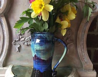 Pitcher/Vase - Multipurpose Pottery - Aurora Borealis Glaze - Wheel Thrown Pottery