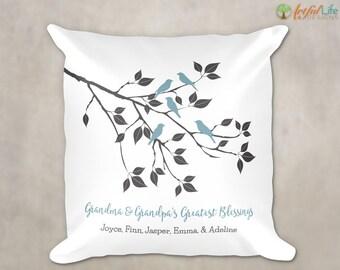 GIFT for GRANDPARENTS, Gift from Grandchildren, Personalized Grandkids Pillow, Greatest Blessings Pillow, Gift from Grandkids, Accent Pillow