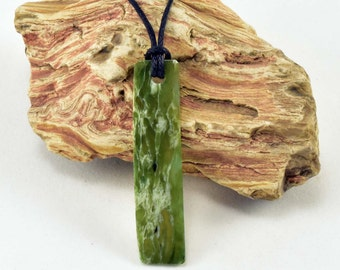 Nephrite jade pendant, green and white jade pendant, jade necklace