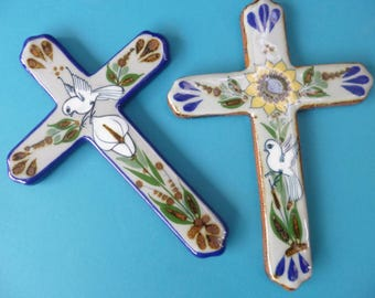 Mexican Ceramic Cross #3 Vintage Folk Art Cross Flower and Dove Design
