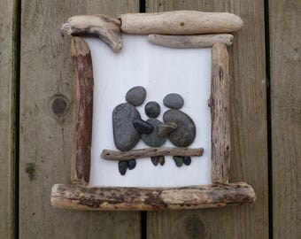 Unique Pebble Art, Family of Three, Beach Wood Frame