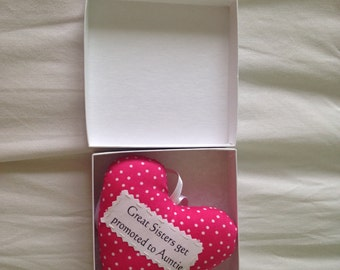 Auntie heart, Auntie gift, padded heart, Gift box option
