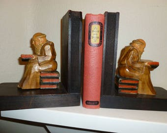 Vintage Wood Monk Bookends From 1940's-1950's