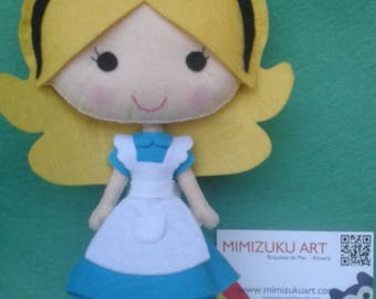Alice in wonderland, felt doll, mimizuku art