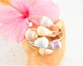 Hawaiian Cone Shell Bangles, Hawaiian Bangles, Cone Shell Bangles, Gold Shell Bangles, Silver Shell Bangles, Hawaiian Shell Jewelry
