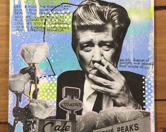 David Lynch Twin Peaks A4 mixed media artwork