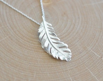 Large Feather Necklace in Sterling Silver 925, Nature Necklace, Tribal Necklace, Nature Jewelry, Jamber Jewels 925