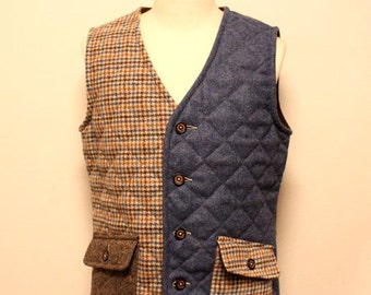 Deadstock Lavanham tweed patchwork vest made in England