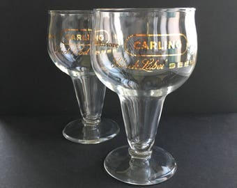 Vintage Carling Beer Glasses, set of 2 | carling black label, baltimore maryland, beer goblet, hollow stem pilsner glassware, beer gift