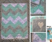 CHEVRON Baby Blanket made from Bridesmaid Dress - Baby Shower Gift for the Expecting Bride - Baby Girl - Modern Quilt - Bridesmaid Blanket