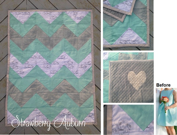 Chevron Bridesmaid Dress Baby Quilt Gift for the Expecting Bride - Baby Girl - Quilt made from a bridesmaid dress