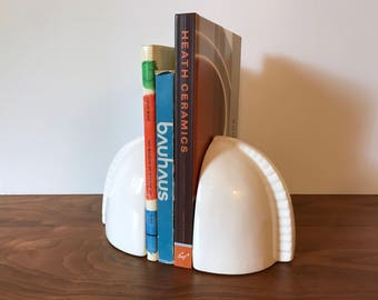 Vintage Deco Modern Ceramic Bookends by Jaru Art Products