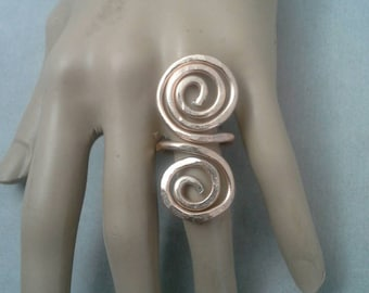 Wire Ring, Wire Wrapped Ring, Statement Ring, Hammered Ring