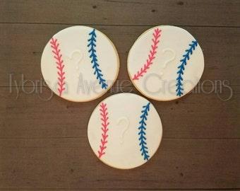 12 Gender Reveal Baseball Sugar Cookies - Baseball Baby Shower - Gender Reveal Cookies - Baseball Baby Shower Gender Party Cookies