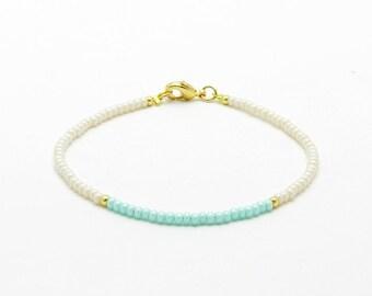 Mint Beaded Bracelet, Delicate Cream Bead Friendship Bracelet, Summer Jewelry, Gold Seed Bead Bracelet, Gift For Her, Yoga Bracelet,