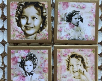 COASTERS!! Shirley Temple coasters with gold trim