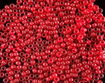 10 Grams of Miyuki Japanese Seed Beads Size 8/0 Gloss Red Translucent