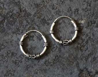 Silver Hoops, Bali Hoops, Everyday Earrings, Small Hoops, Boho, Ethnic, Tribal, Sterling Silver, 925