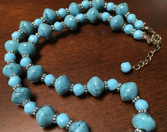"Adjustable 18"" - 20"" Turquoise Beaded Necklace"